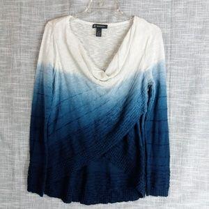 INC Draped Neck Blue White Ombre Sweater Medium